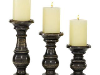 lITTON lANE 4 3 in  x 10 05 in  4 in  x 8 05 in  3 9 in  x 6 1 in  Medium Rustic Black Wooden Candlestick Holder  Set of 3