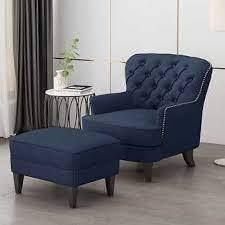 Claethorpes Accent Chair With Ottoman Body Blue OTTOMAN ONlY