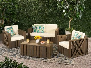 PAIR OF CHAIRS  Cadence Acacia Wood Outdoor 4 piece Chat Set with Cushions by Christopher Knight Home  Retail 1269 99