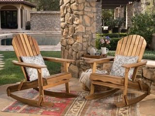 SINGlE CHAIR Malibu Outdoor Adirondack Rocking Chair by Christopher Knight Home  Retail 322 49