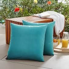 Pair of Square Knife Edge Outdoor Square Throw Pillow 20 inch