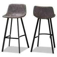 Null  Carbon loft Abbas Rustic Industrial Upholstered 2 piece Bar Stool Set  Retail 159 49