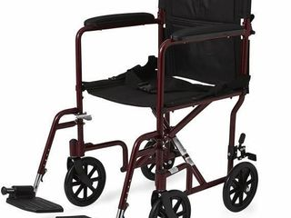 Medline Aluminum Transport Chair with Wheels  Red