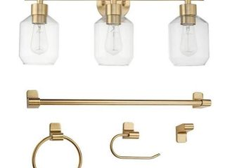 Cannes 5 Piece All in One Bathroom Set  Brass