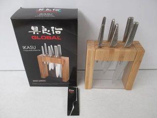 As Is  Global Ikasu 7 Piece Knife Block Set