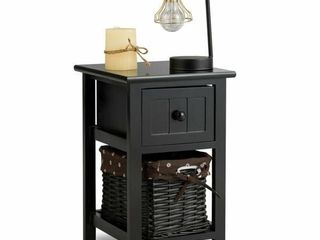 2  Wooden Mini 2 layer Bedside End Table Black