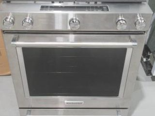 As Is  Stainless Steel 30 Inch 5 Burner Front