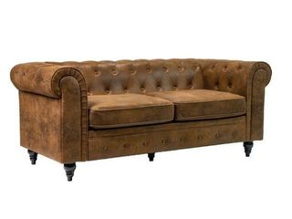 Microsuede Chesterfield 71  Rolled Arm Sofa