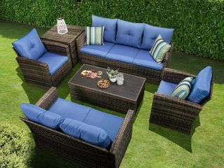 6 Piece Rattan Sofa Seating Group W  Cushions