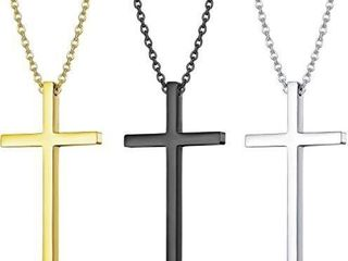 Cross Necklace  3PACK Stainless Steel Cross