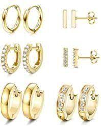 Subiceto 6 Pairs Hoop Huggie Earrings for Women