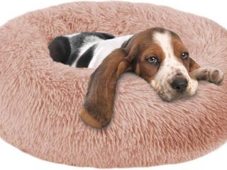 Round Dog Bed Cuddler Washable Round Pet Bed for