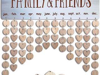 Wooden Family Birthday Reminder Calendar Board