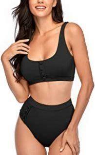 Summer Mae Women lG Buttons Bikini Set Sports Two