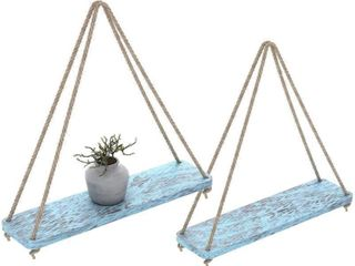 Rustic Set of 2 Wooden Floating Shelves with
