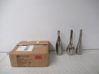 As Is  Tianna Silver Vases  Set of 3