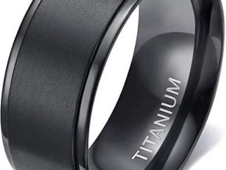 TIGRADE 4mm 6mm 8mm Black Titanium Rings Wedding