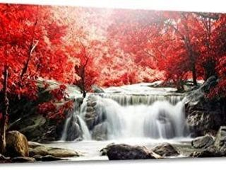 Wall Art Red Woods Waterfall Canvas Print