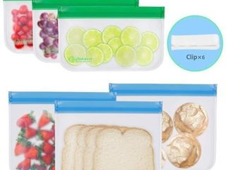 Resuable Food Storage Bags   6 Pack Easy Seal