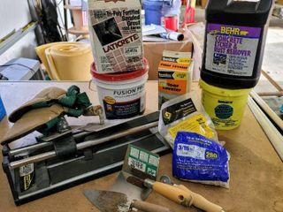 Tiling   Concrete Work lot   Easy Score Tile Cutter  Trowels  Tile Spacers  Grout  Concrete Etcher Rust Remover  Quikrete Concrete Patcher   more