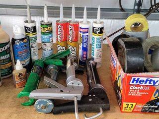 Home Projects lot   Wood Workers Glue  Sealants  liquid Nails  Caulk    4  Caulk Guns  Box full of Different types of Tapes