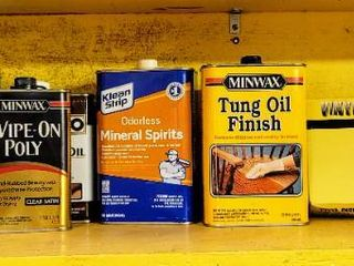 Wood Worker s Furniture Finishing lot   Minwax Wax  Oil   Polyurethane  Mineral Spirits  Boiled linseed Oil   more