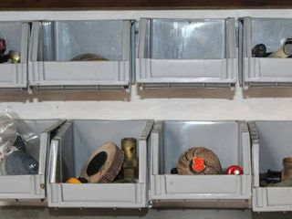 16  Wall Mount Containers FUll of assorted Items Plus Peg Wrack with Tools