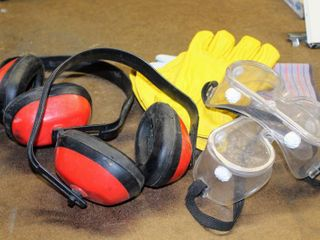 Set of  2  Noise Blocking Earphones  Eye Goggles  and Gloves