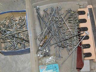 100 s of Peg Board Hooks in Assorted Sizes    2  Wall Mount Rod Racks
