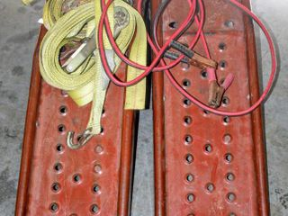 Solid Steel Auto Ramp Set  Jumper Cables  2  Heavy Duty Ratchet Tie Downs 27 FT