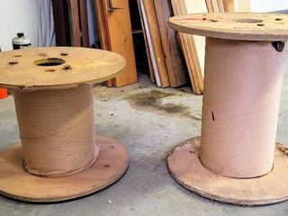 2  Wood Spools Empty Cable Wire Reels   Perfect for a DIY project