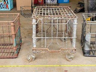 3  Vintage Metal Wire Milk Crate Baskets Industrial Dairy