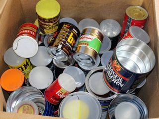 2  Boxes of A Variety of Vintage Coffee Cans and New Plastic Coffee Cans For a variety of uses