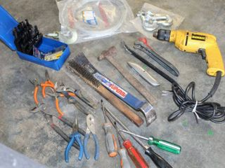 Variety of Hand Tools  Drill Bits  Electric DeWalt 3 8  Drill  works  Super Bar  Pliers  Wrenches  New  3 8  Hooks  and New  2000lB Metal Cable   more