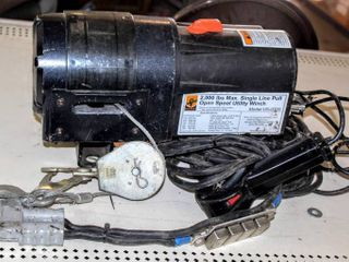 2000 lB Max Single line Pull Open Spool Utility Winch with Remote Control Model US 0200  Untested