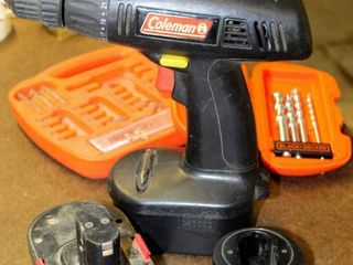 Coleman 18V Power Driver with  2  Batteries and Charger  missing Power Cord  Untested  and Drill Bits