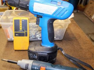 Drill Master 3 8  Cordless Drill   Battery  no charger  Black   Decker Hand Driver  no charger  Studsensor Pro  Container of Bolts Nuts Screws