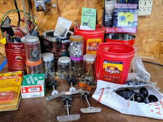 large Garage Shop lot   Nails  Screws  Bolts  Tools  Fasteners   more