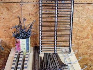 Garage Organization lot    3  Wire Shelves 12  D x 36  W  Shelving Strips   Brackets  Heavy Duty Hooks  Rod Racks   Coffee Can FUll of Peg Board Hooks   accessories