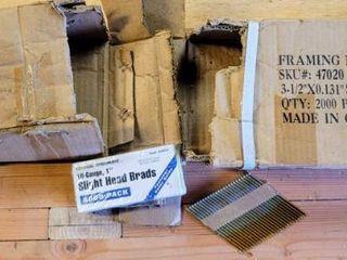 Framing Nails 3 5  x 0 131  Smooth Galvanized   18 Gauge  1  Slight Head Brads