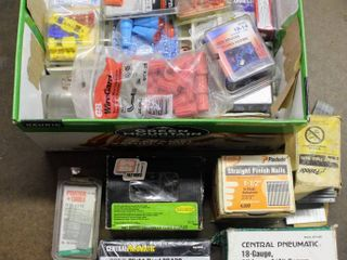 Assortment of Packaged Nails  Screws   Nuts  Staples  Plugs  Wire Gards  Splices  and Several Types of Measuring Tools