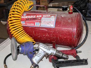 7 Gallon Portable Air Tank  Air Hose   3 Pneumatic Hand Tools  Sander  Nailer and Drill