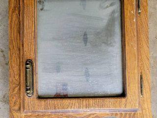Vintage Wood Mirrored Bathroom Cabinet with Towel Bar