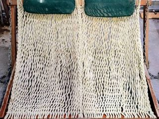 Vintage NAGS HEAD HAMMOCKS Cumaru Teak Rope Porch Swing for Two