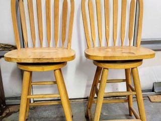 2  Wood Swivel Bar Stools
