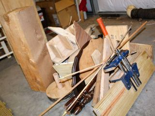 Assortment of Project Wood Pieces  and Homemade Bench Table Vise