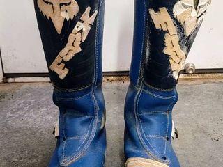 Vintage Blue Fox Racing Comp 2 Alpinestars Rick Johnson Motocross Motorcycle Boots