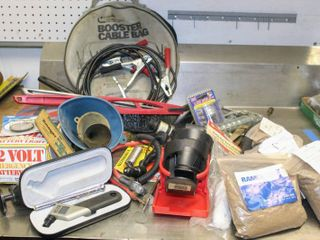 BIG Assorted Garage lot  Accutire  Bags of Peat Sorb  Greasers  Gauges  Vtg Cup Holders  Booster Cables  Funnels  Emergency light  and MORE