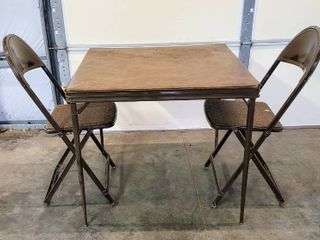 Vintage Folding Table with  2  Matching Chairs