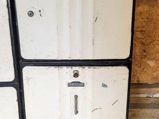 2  Vintage Industrial Sanilok Metal Meat locker and Drawer with Number Plates